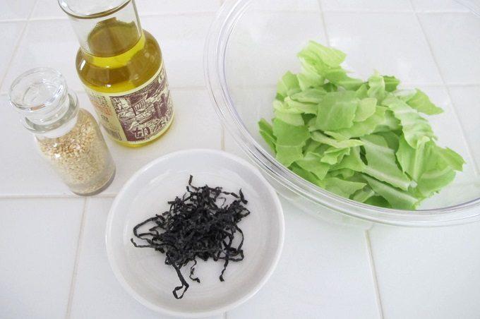 キャベツの塩昆布和え 材料