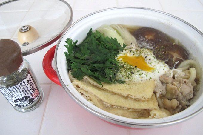 プチクック ホーロー鍋 鍋焼きうどんの半熟卵