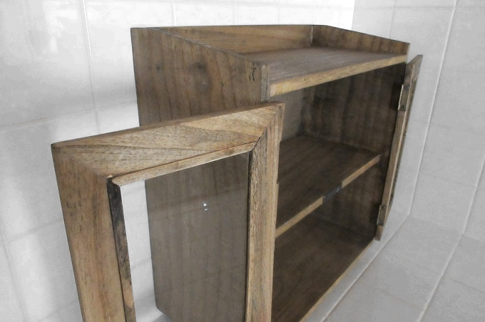 スパイスラック木製 ガラス扉
