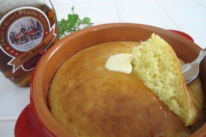 オーブントースターで焼いたホットケーキとモン・ファボリ メープルシロップ